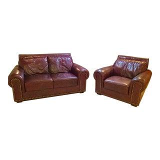 1990's Bordeaux Leather Love Seat & Chair Set For Sale