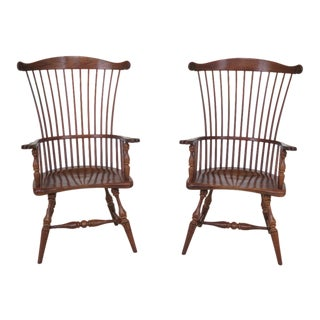 1990s Frederick Duckloe High Fan Back Windsor Armchairs - a Pair For Sale