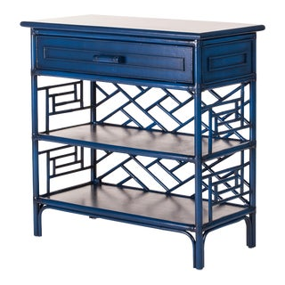 Chippendale End Table - Navy Blue For Sale