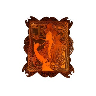 Vintage French Wood Burning Wall Art Alphonse Mucha