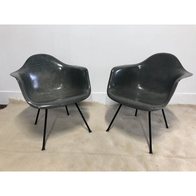 Pair of Early Eames Herman Miller Armchairs, Elephant Hide Grey For Sale - Image 12 of 12