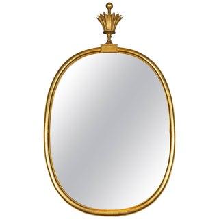 1940s Vintage Tommi Parzinger Oval Gilt Mirror For Sale