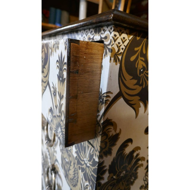 Traditional Wallpapered Antique Chest For Sale - Image 3 of 9