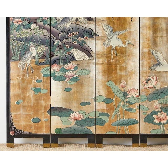 Chinese Export Gilt Coromandel Screen Crane Landscape For Sale - Image 11 of 13