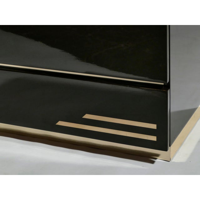 Dark Brown Lacquer and Brass Chest of Drawers by j.c. Mahey, 1970s For Sale - Image 9 of 10