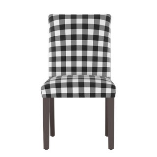Dining Chair in Classic Gingham Black Oga For Sale