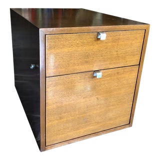 1950s Mid-Century Modern George Nelson for Herman Miller 2-Drawer Medium Dark Wood Tone File Cabinet With Lock For Sale
