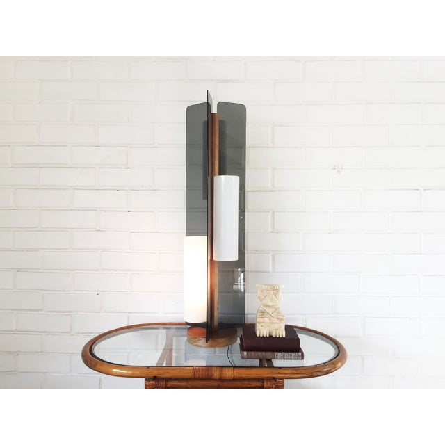 Mid Century Triple Way Wood and Grey Lamp - Image 4 of 6