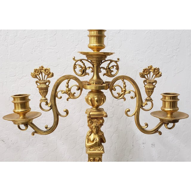Remarkable Pair of 19th Century Matching French Gilded Bronze Candelabras - A Pair For Sale - Image 9 of 11