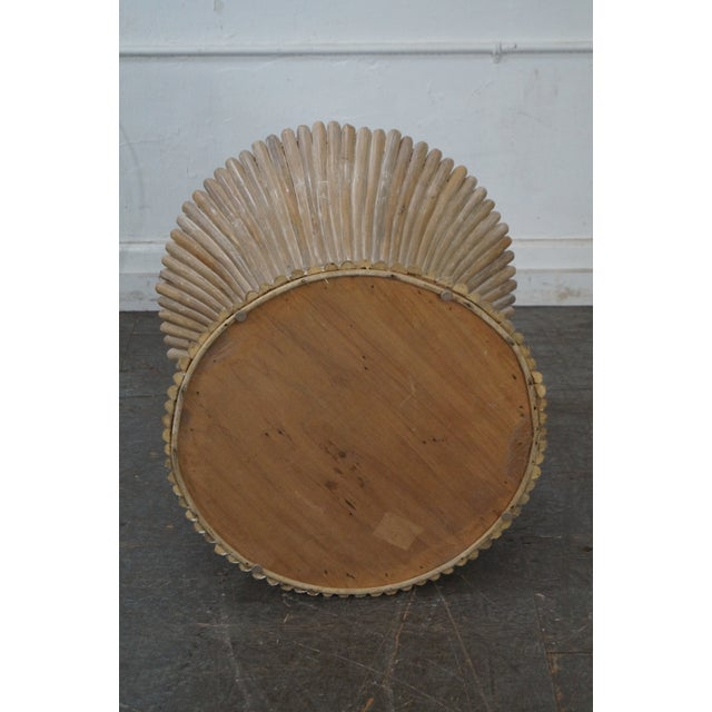 McGuire Style Rattan Wheat Sheaf Glass Top Side Table - Image 4 of 10