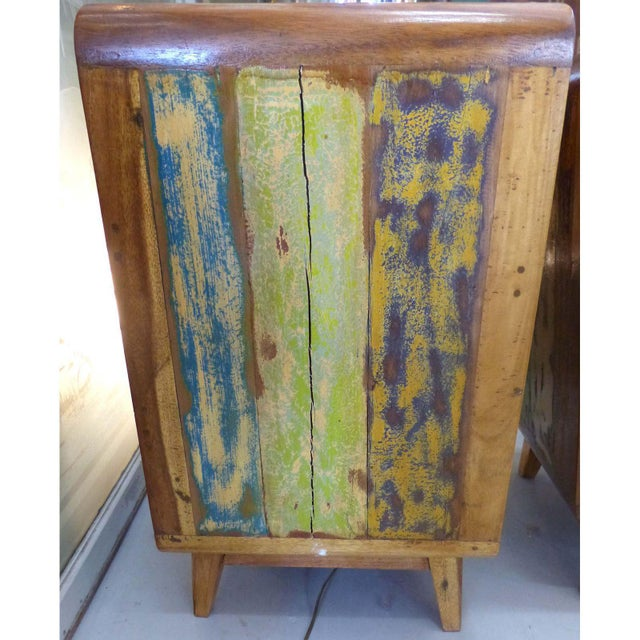 1950's Style Distressed Finish Wood Nightstands -A Pair - Image 7 of 10