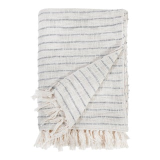 Jojo Oversized Throw in Ivory and Blue Gray For Sale
