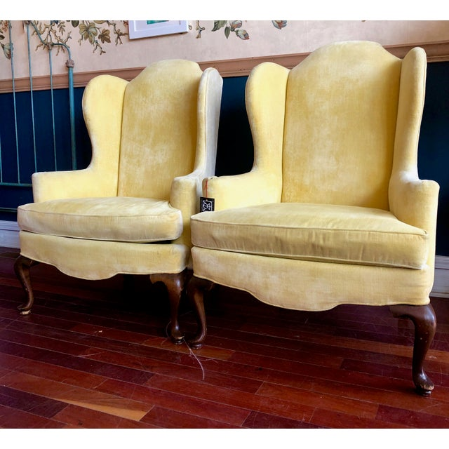 Vintage Drexel Yellow Wingback Chairs- Pair For Sale - Image 13 of 13