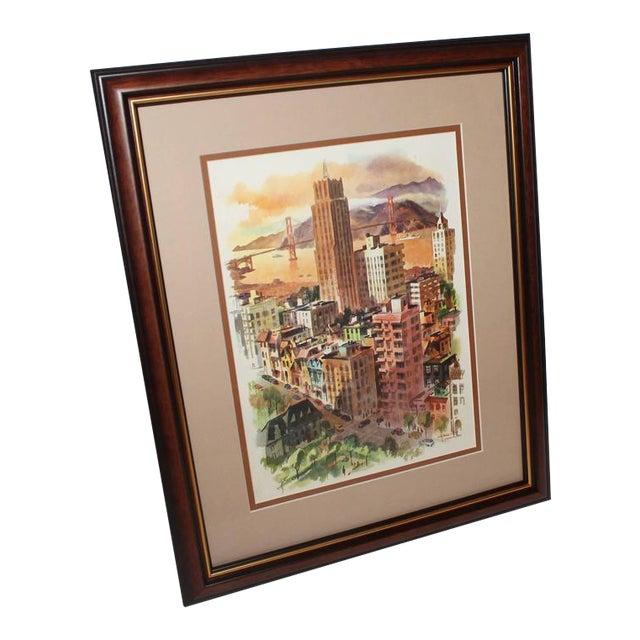 Signed C. Macourlard San Francisco Watercolor For Sale
