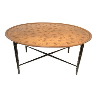 Oval Coffee Table with Faux Bamboo Legs and Incised Thistle Motif by Kittinger For Sale