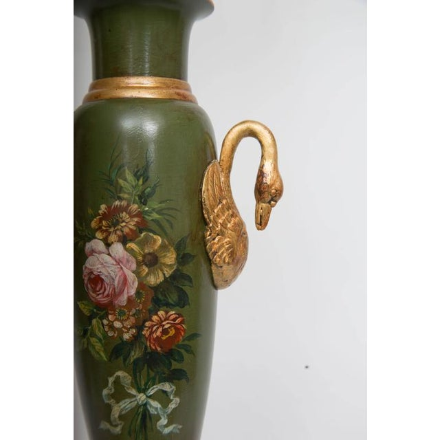 Pair of Victorian Painted Tole Lamps - Image 7 of 9