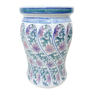 20th Century Boho Chic Ceramic Chinese Blue, White and Pink Drum Stool
