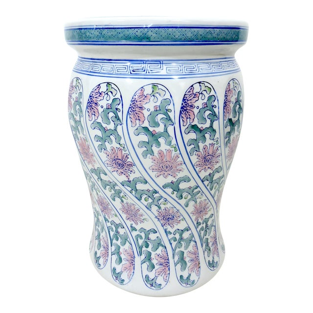 Vintage Boho Chic Ceramic Chinese Blue, White and Pink Drum Stool or Garden Seat For Sale
