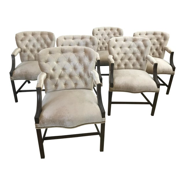 Rose Tarlow Melrose House Chippendale Dining Arm Chairs - Set of 6 For Sale
