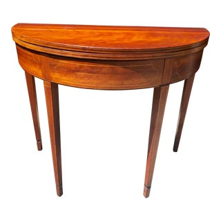 Antique Hepplewhite Style Mahogany Demi Lune Table For Sale