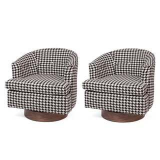 Custom 1960s Houndstooth Swivel Lounge Chairs With Walnut Bases - a Pair For Sale