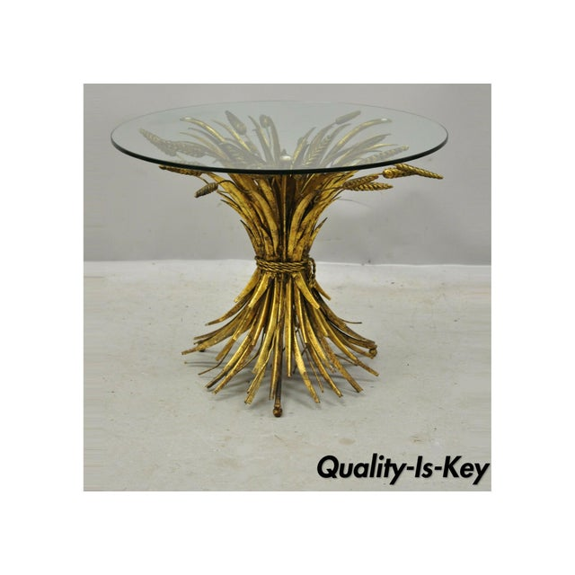 Vintage Italian Hollywood Regency Gold Gilt Iron Metal Wheat Sheaf Small Side Table For Sale - Image 13 of 13