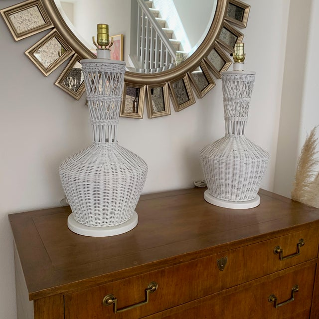 Wicker Rattan White Lamps - Pair For Sale - Image 4 of 10
