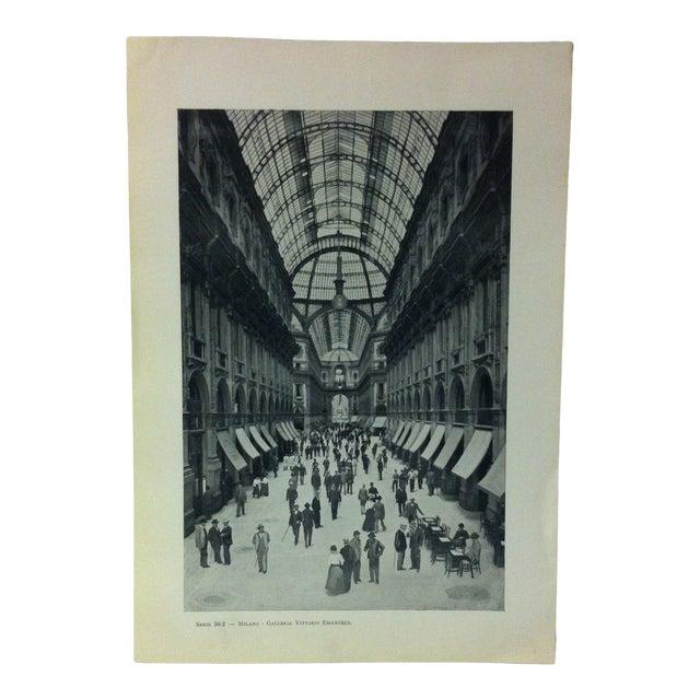 """Circa 1930 """"Galleria Vittorio Emanuele"""" Print of Milano Italy For Sale"""