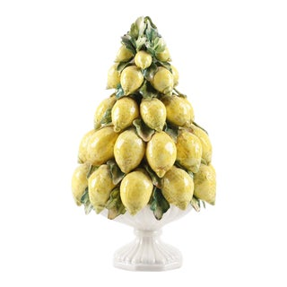 Vintage Mid-Century Italian Ceramic Lemon Centerpiece For Sale