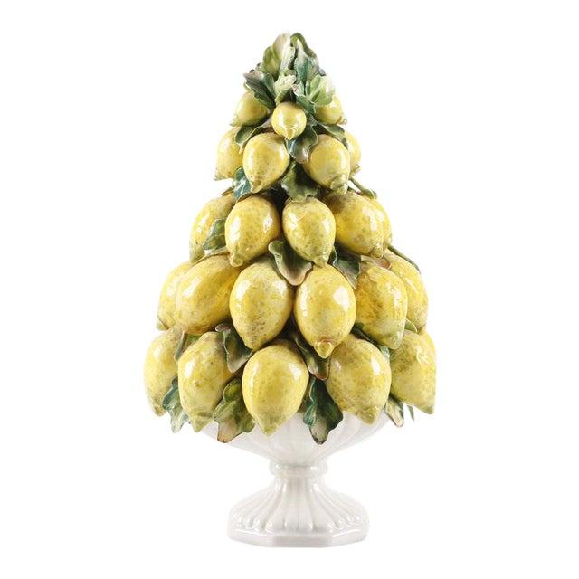 Vintage Mid-Century Italian Ceramic Lemon Centerpiece For Sale