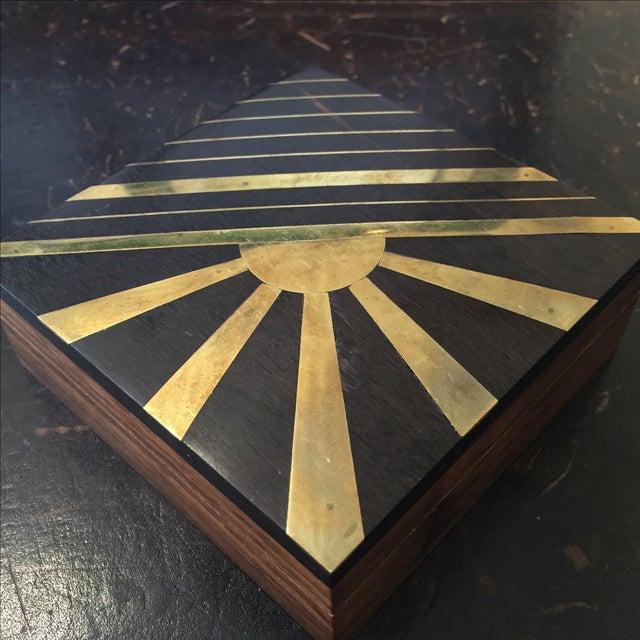1970s Vintage Sun Brass Inlay Wood Box - Image 8 of 8