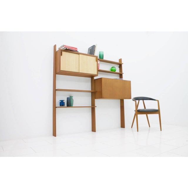 Dieter Waeckerlin Teak Shelf With Seagrass Sliding Doors With a Bar or Desk, 1950s For Sale - Image 9 of 10
