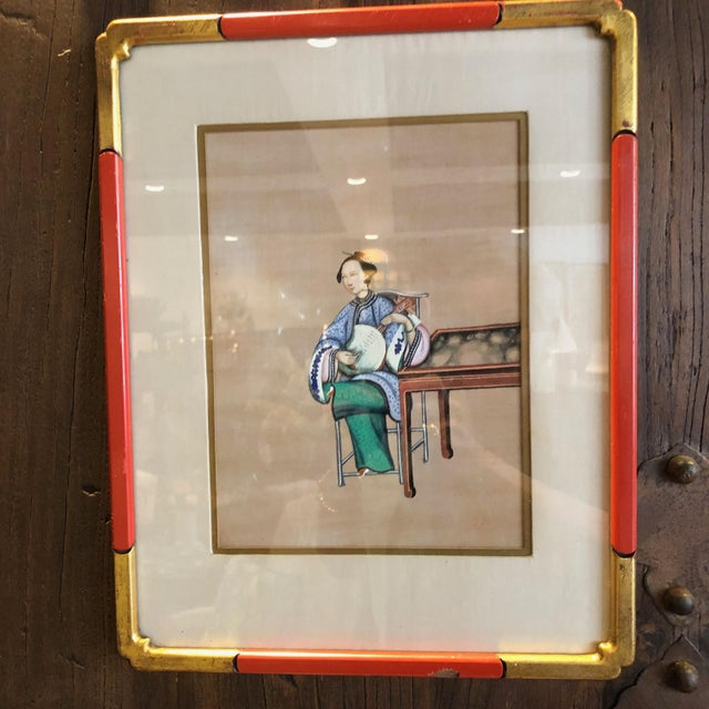 Asian '4' Chinese Export Paintings on Silk - Set of 4 For Sale - Image 3 of 8