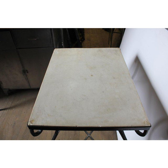 Early 20th Century Antique French Wrought Iron and Marble Table For Sale - Image 4 of 5