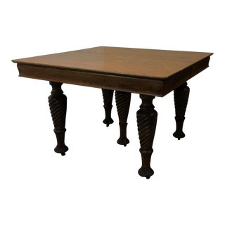 Antique Oak Square Turned Legs Table + 3 Leaves For Sale