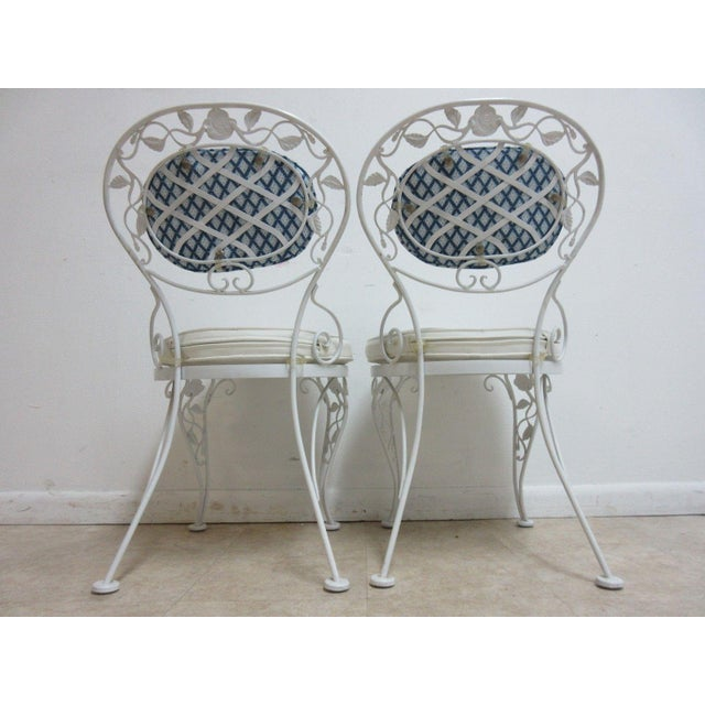 Woodard Furniture Co. Vintage Woodard Wrought Iron Out Door Patio Chairs - A Pair For Sale - Image 4 of 7