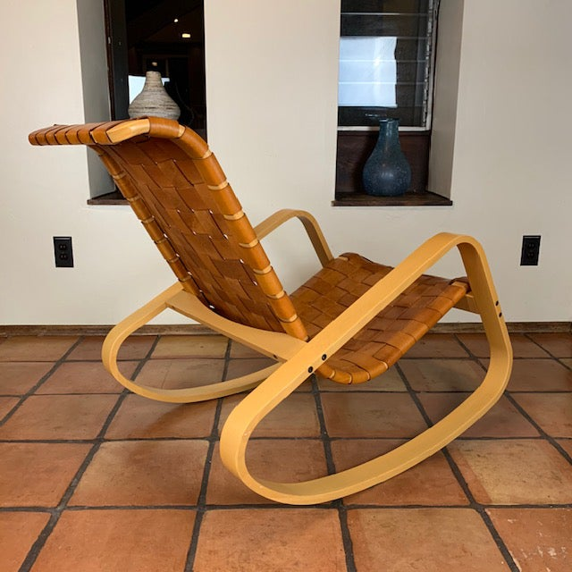 2000 - 2009 1950s Wood and Leather Dwr Dondola Rocker For Sale - Image 5 of 8