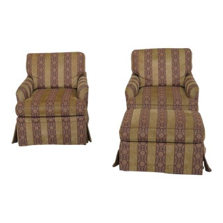 Harden Upholstered Club Chairs & Ottoman - Set of 3 For Sale