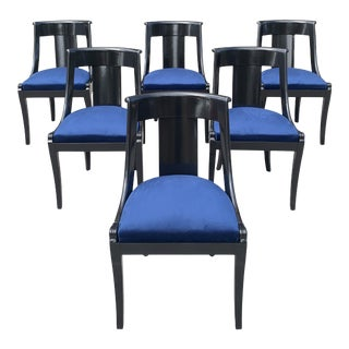 """1910s Vintage French Empire """"Gondola"""" Dining Chairs- Set of 6 For Sale"""