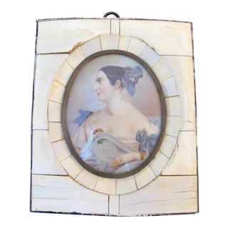 Antique Miniature Hand Painted Portrait of Distinguished Woman in Blue For Sale