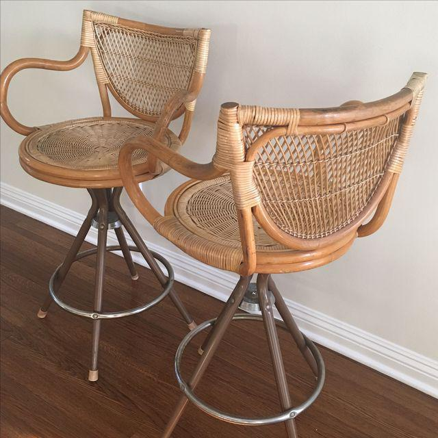 Vintage Wicker Bar Stools - A Pair - Image 4 of 7