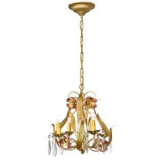 Mid-Century Italian Floral Tole and Crystal Chandelier For Sale