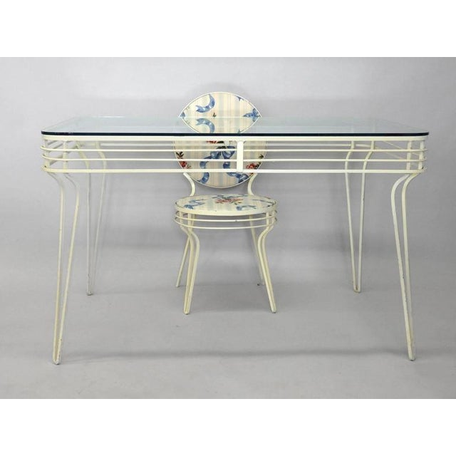 Wrought iron art moderne dinette table and chairs. Dimensions listed are for the dining table