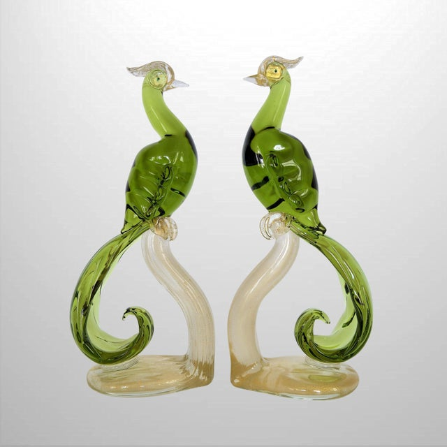 1950s Murano Glass Bird Figurines Sculptures- a Pair For Sale - Image 11 of 12