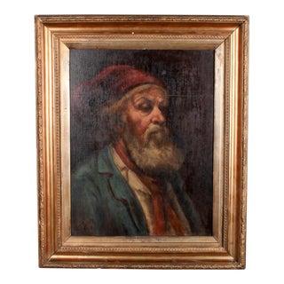 """1903 Noel Brady """"Portrait of a Man"""" Oil on Board Painting"""