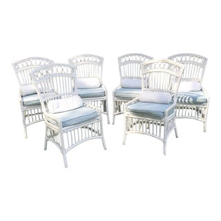 1980s Shabby Chic Painted White Wicker Chairs With Cushions - Set of 6 For Sale