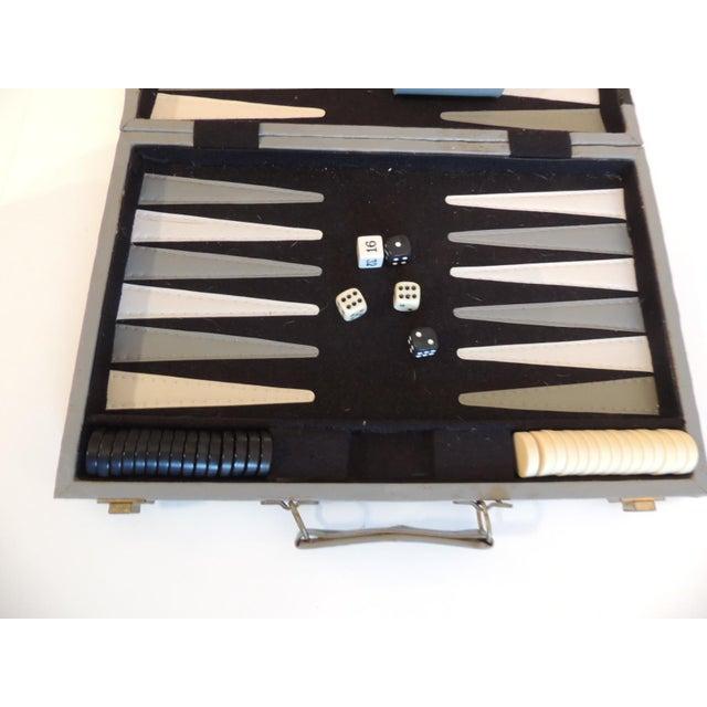Art Deco Vintage Grey and Black Backgammon Game Case For Sale - Image 3 of 5