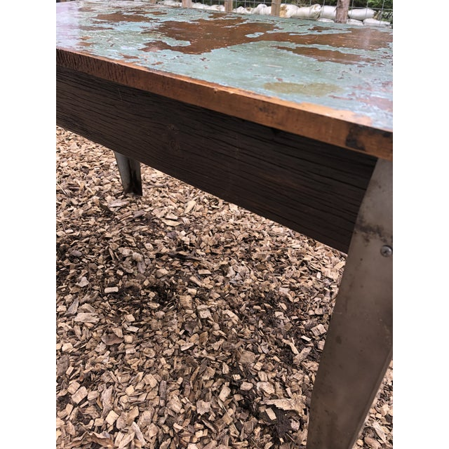 Industrial Distressed Wood Table With Metal Legs For Sale - Image 10 of 13