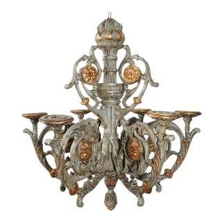 19th Century Large Carved Painted and Parcel Gilt Dutch Chandelier For Sale