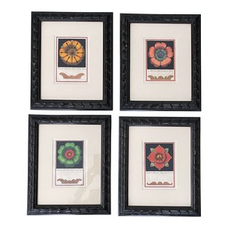 Contemporary Italian Floral Reproduction Prints, Framed - Set of 4 For Sale